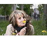 Woman, Dandelion, Smelling