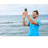 Man, Happy, Vacation, Selfie