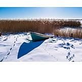 Winter, Footprint, Fishing Boat, Fischland Darß