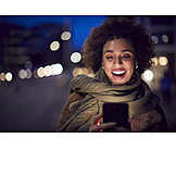 Young Woman, Laughing, Message, Urban, Online