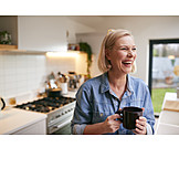 Woman, Laughing, Happy, Home
