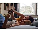 Couple, Home, Relaxed, Online, Lesbian