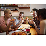 Eating, Home, Meeting, Friends, Pizza