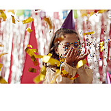 Girl, Party, Confetti, Party Hat