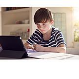 Boy, Home, Online, Homework, School