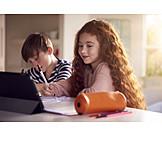 Home, Online, Homework, Siblings, School