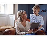 Grandmother, Grandson, Home, Internet, Together