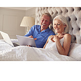 Laughing, Online, Bedroom, Older Couple