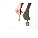 Shadow, Key, Real Estate, Mortgage Document