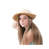 Teenager, Long Hair, Straw Hat
