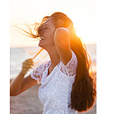 Young Woman, Laughing, Beach, Disheveled