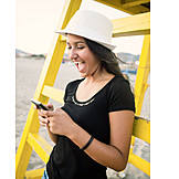 Young Woman, Laughing, Beach, Sms