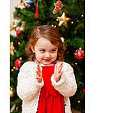 Girl, Christmas, Christmas Tree, Clapping