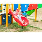 Girl, Slide, Sliding, Happiness