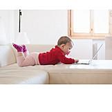 Toddler, Girl, Home, Laptop