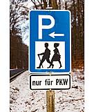Information Sign, Parking Lot, Hiking