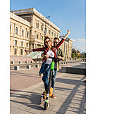 Couple, City trip, Urban, Electric scooter