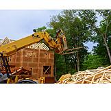 Building Construction, Excavator, Wooden Construction