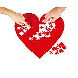 Love, Heart, Jigsaw Piece, Merging