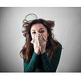 Woman, Allergy, Sneezing