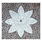 Flower, Cobblestones, Mosaic
