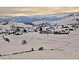 Village, Winter, Snow