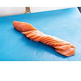Sliced, Salmon, Prepared Fish, Salmon Fillet