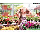 Woman, Happy, Shopping, Garden Center, Gardening