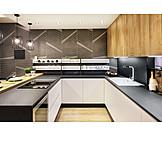 Modern, Kitchen, Built in kitchen
