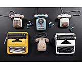Telephone, Retro, Typewriter