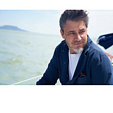 Portrait, Man, Sailing, Breezy