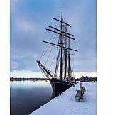 Winter, Harbour, Sailboat