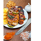 Barbecue, Chicken Breast Filet, Grilled Vegetables