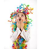 Fun, Facial Expression, Crazy, Feather Boa, Carnival, Headgear