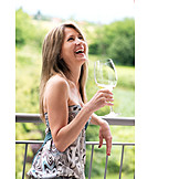 Woman, Happy, Holding, Summer, Wine Glass
