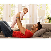 Baby, Father, Sofa