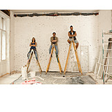 Smiling, Teamwork, Ladder, Construction Site, Friends