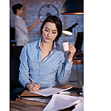 Business Woman, Desk, Workplace, Overtime