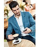 Man, Drinking, Coffee, Cafe, Writing, Smart Phone