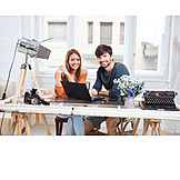 Couple, Home, Teamwork, Online, Creative, Planning