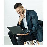 Businessman, Laptop, Smile