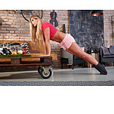 Woman, Home, Sports, Push Ups, Workout