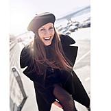 Woman, Laughing, Fashion, Overcoat, Fashion