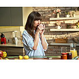 Woman, Drinking, Home, Coffee