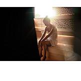Woman, Relaxation, Sauna, Sauna
