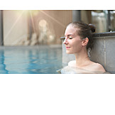 Woman, Closed Eyes, Relaxation, Pool