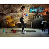 Woman, Workout, Squat, Kettlebell