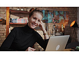 Woman, Smiling, Home, Laptop