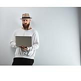 Man, Laptop, Online, Cool