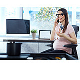Office, On The Phone, Pregnant, Workplace